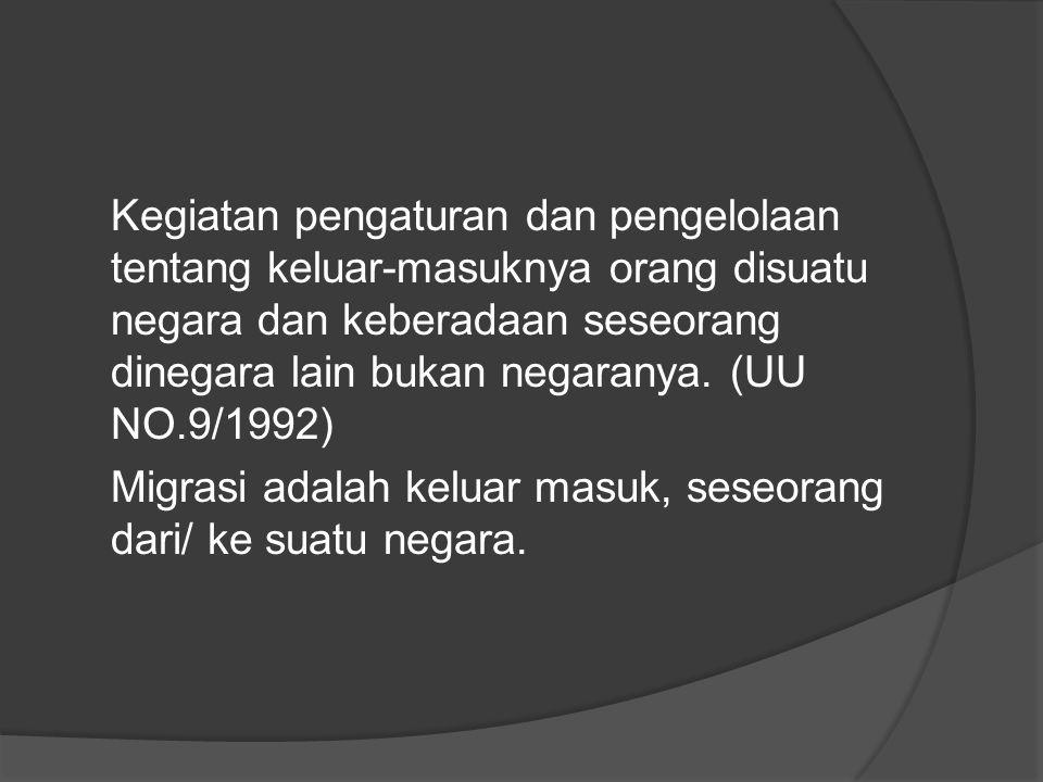 Kegiatan pengaturan dan pengelolaan tentang keluar-masuknya orang disuatu negara dan keberadaan seseorang dinegara lain bukan negaranya.