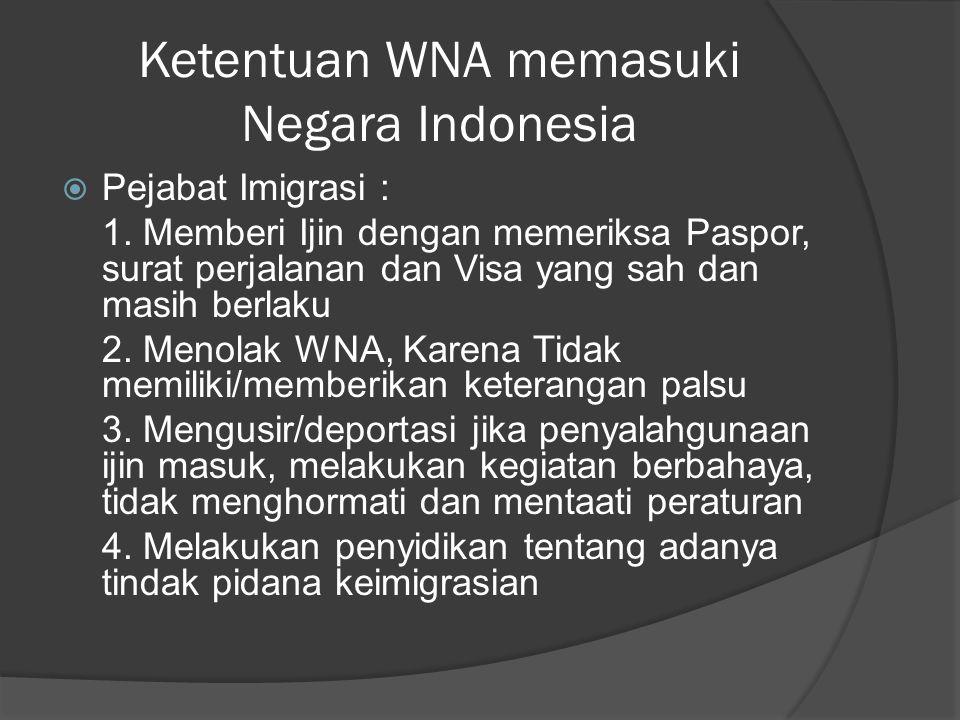 Ketentuan WNA memasuki Negara Indonesia