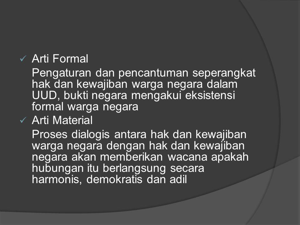 Arti Formal Pengaturan dan pencantuman seperangkat hak dan kewajiban warga negara dalam UUD, bukti negara mengakui eksistensi formal warga negara.