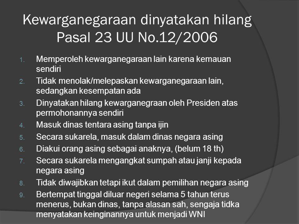 Kewarganegaraan dinyatakan hilang Pasal 23 UU No.12/2006