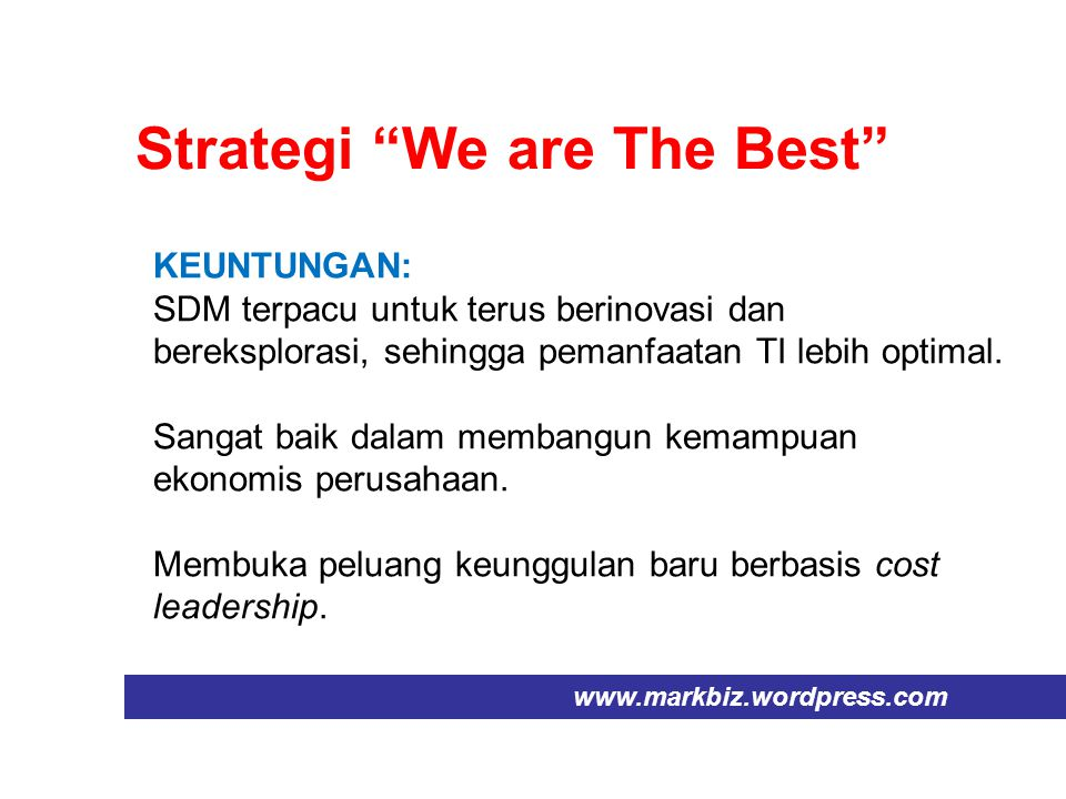 Strategi We are The Best