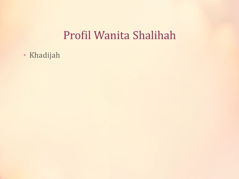 Profil Wanita Shalihah