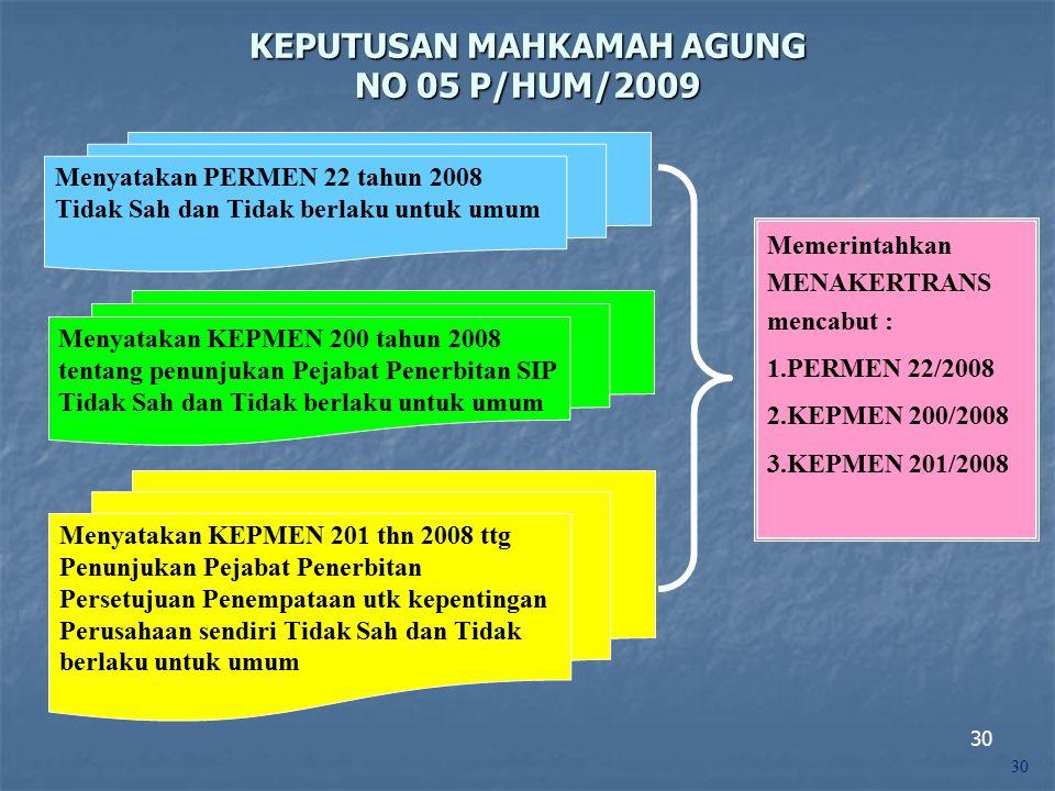 KEPUTUSAN MAHKAMAH AGUNG NO 05 P/HUM/2009