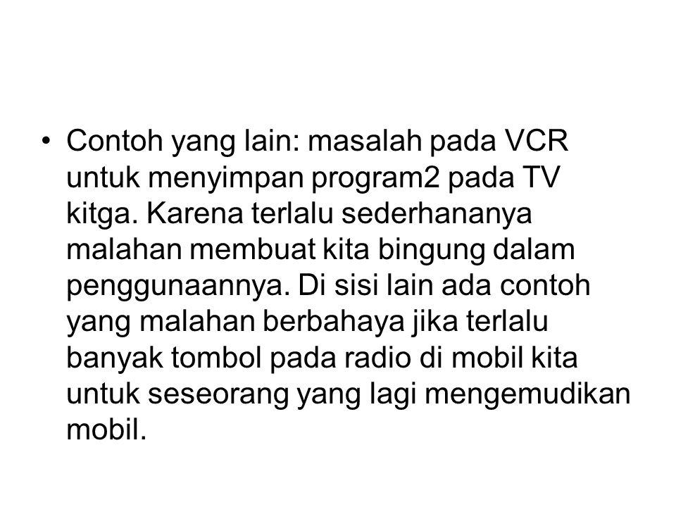 Contoh yang lain: masalah pada VCR untuk menyimpan program2 pada TV kitga.