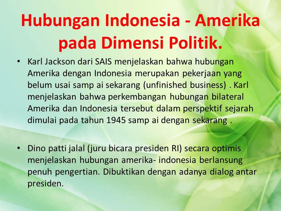 Hubungan Indonesia - Amerika pada Dimensi Politik.