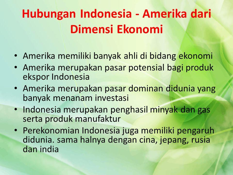 Hubungan Indonesia - Amerika dari Dimensi Ekonomi