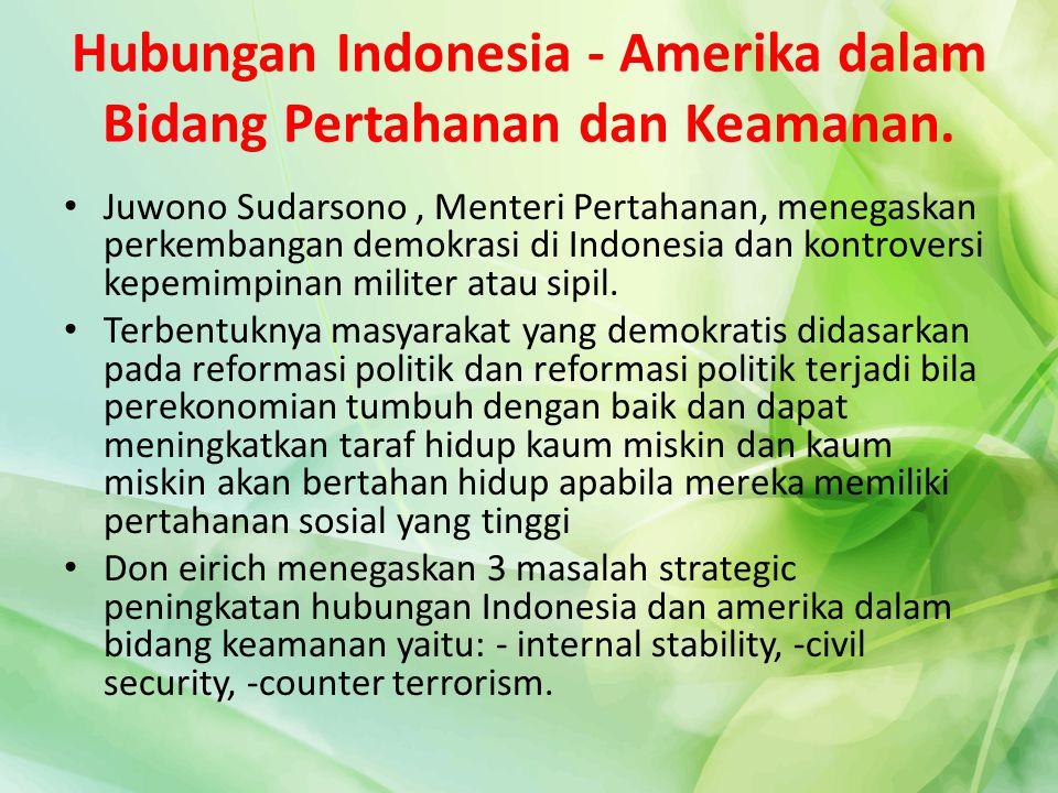 Hubungan Indonesia - Amerika dalam Bidang Pertahanan dan Keamanan.