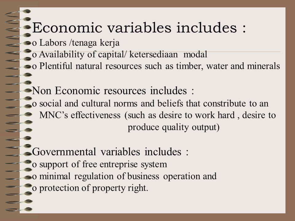 Economic variables includes :
