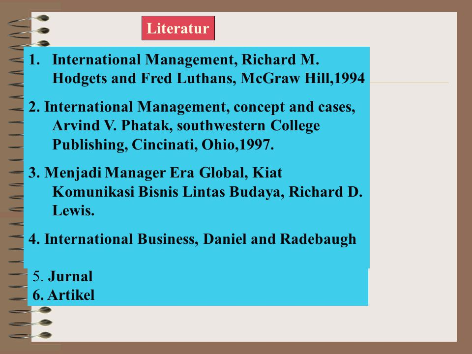 Literatur International Management, Richard M. Hodgets and Fred Luthans, McGraw Hill,1994.