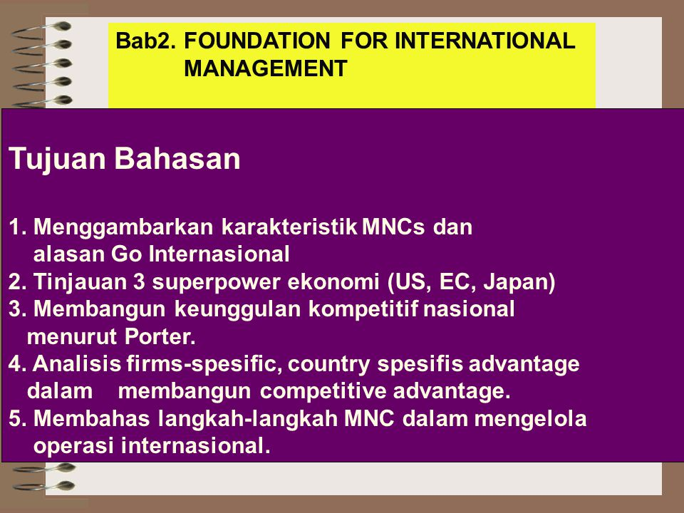 Tujuan Bahasan Bab2. FOUNDATION FOR INTERNATIONAL MANAGEMENT