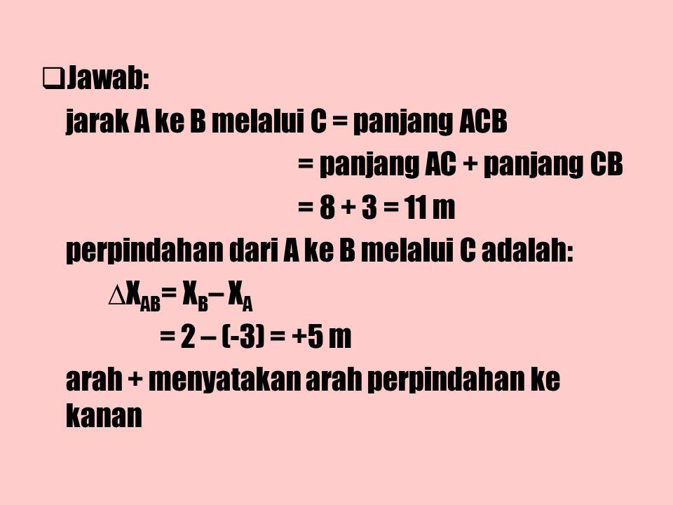 Jawab: jarak A ke B melalui C = panjang ACB. = panjang AC + panjang CB. = 8 + 3 = 11 m. perpindahan dari A ke B melalui C adalah: