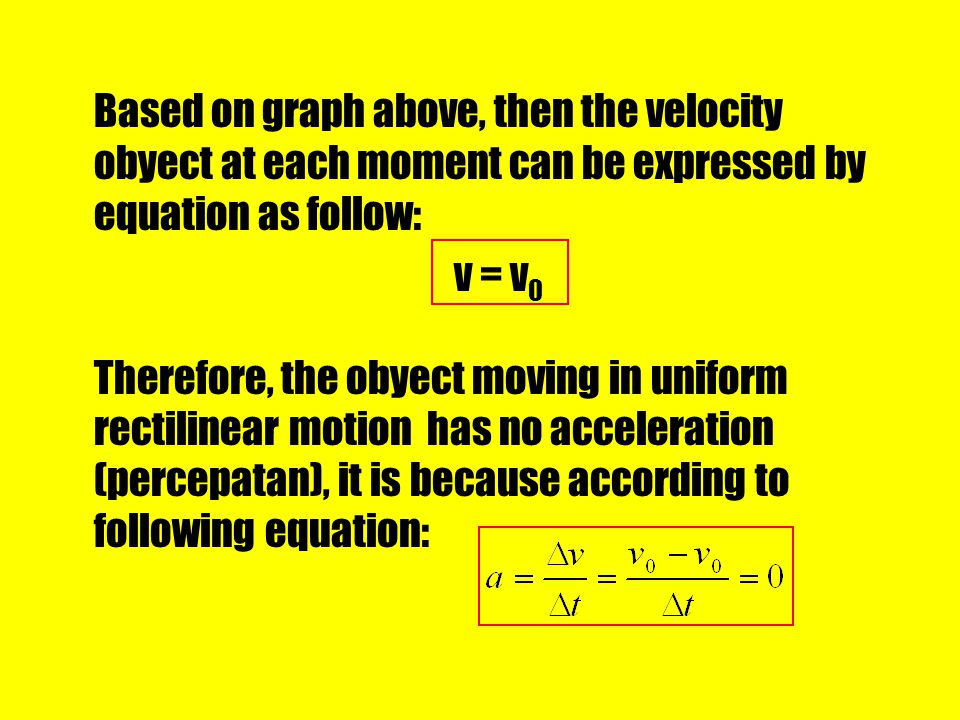 Based on graph above, then the velocity obyect at each moment can be expressed by equation as follow:
