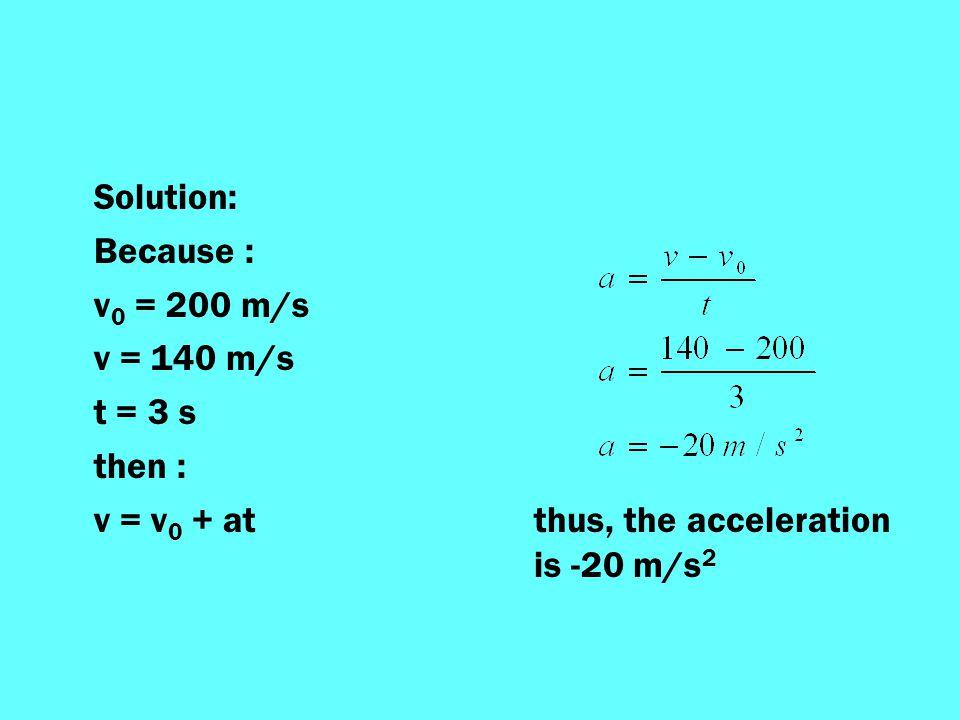Solution: Because : v0 = 200 m/s. v = 140 m/s. t = 3 s.