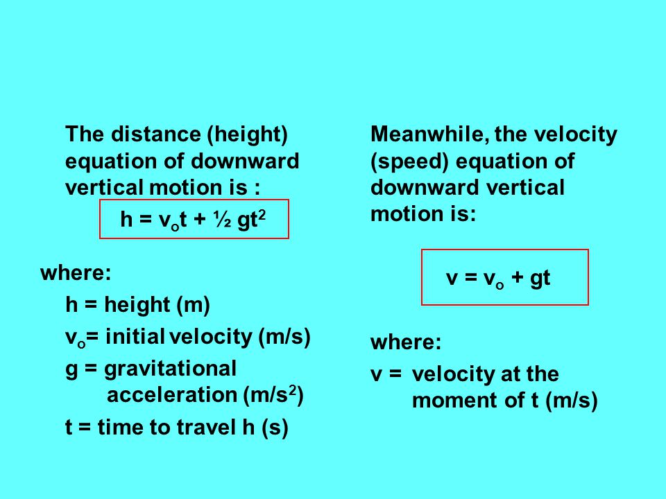 The distance (height) equation of downward vertical motion is :