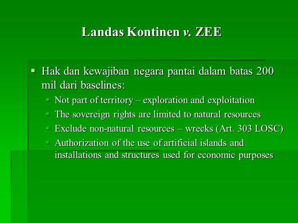 Landas Kontinen v. ZEE Hak dan kewajiban negara pantai dalam batas 200 mil dari baselines: Not part of territory – exploration and exploitation.