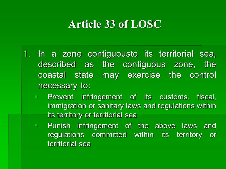 Article 33 of LOSC