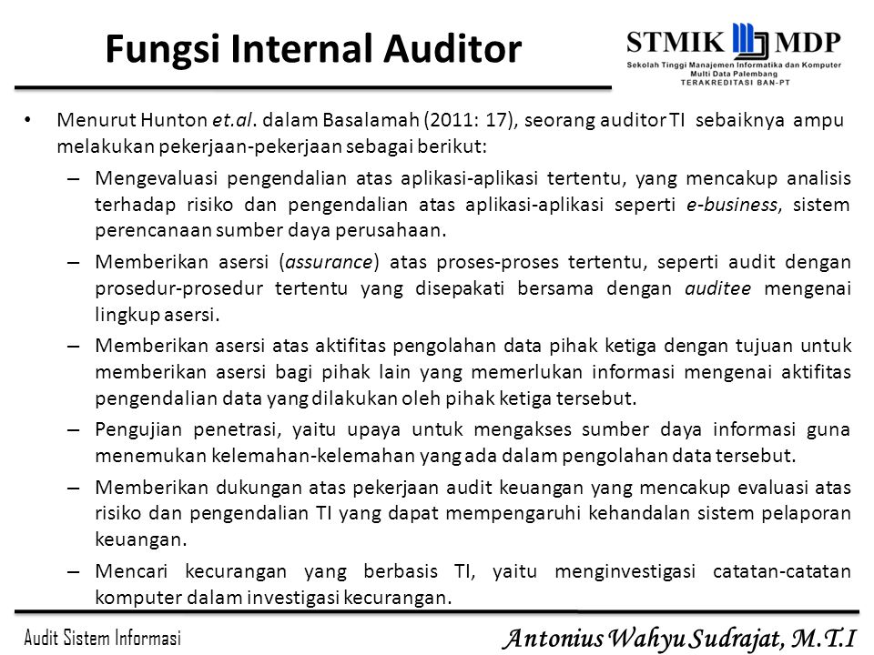 Fungsi Internal Auditor