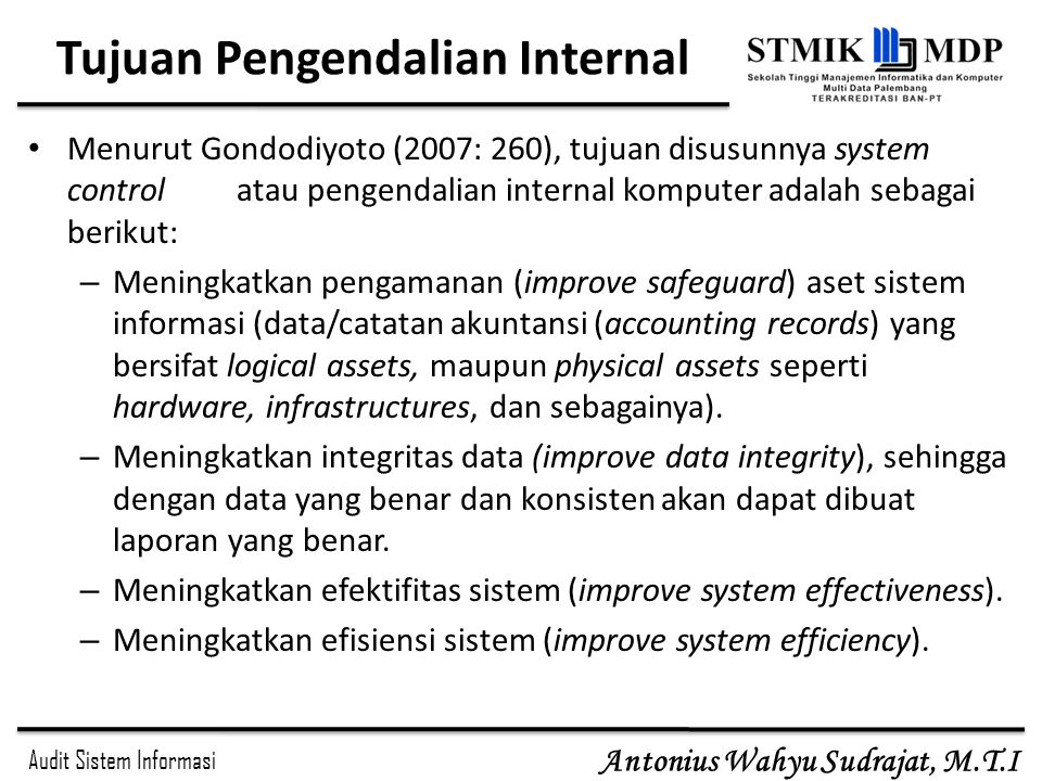 Tujuan Pengendalian Internal
