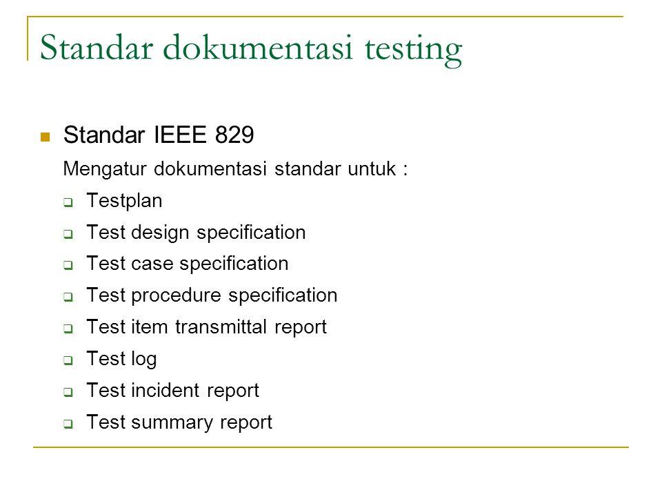 Standar dokumentasi testing