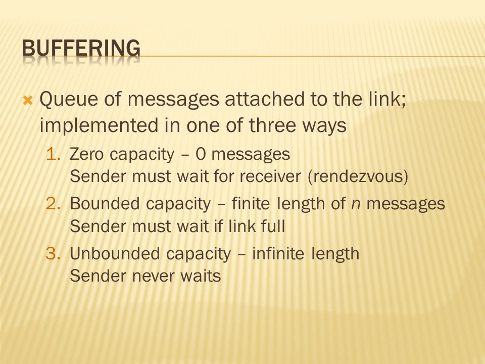 Buffering Queue of messages attached to the link; implemented in one of three ways.