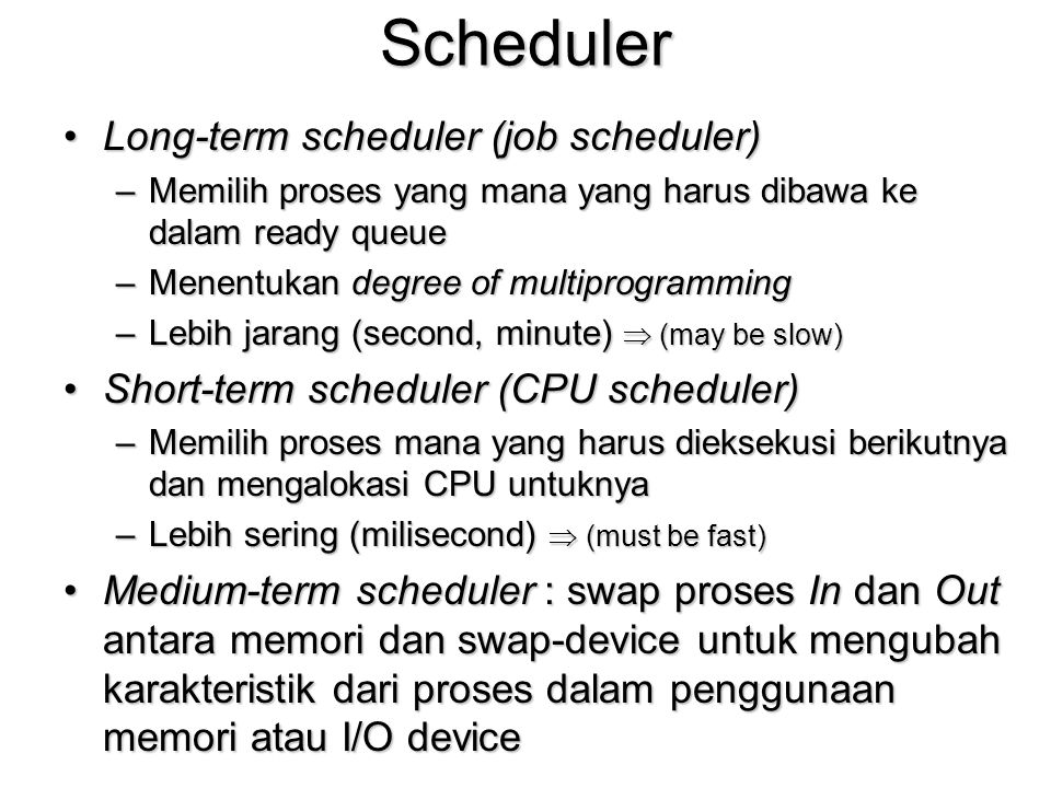 Scheduler Long-term scheduler (job scheduler)