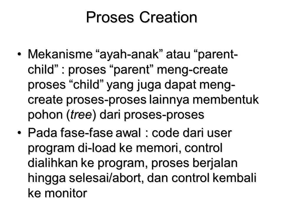 Proses Creation