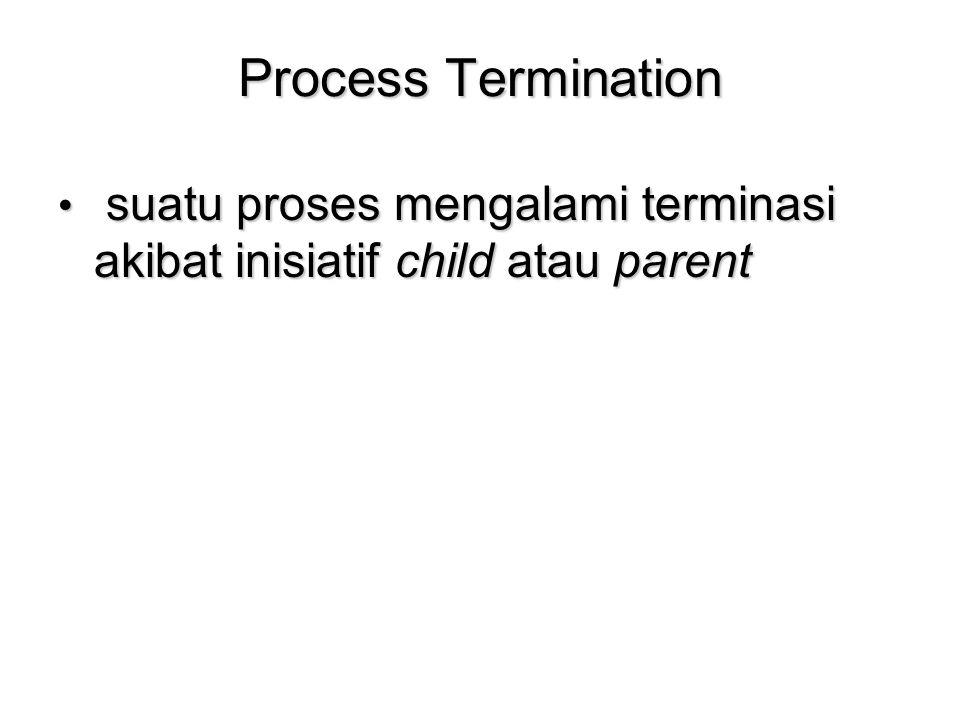 Process Termination suatu proses mengalami terminasi akibat inisiatif child atau parent