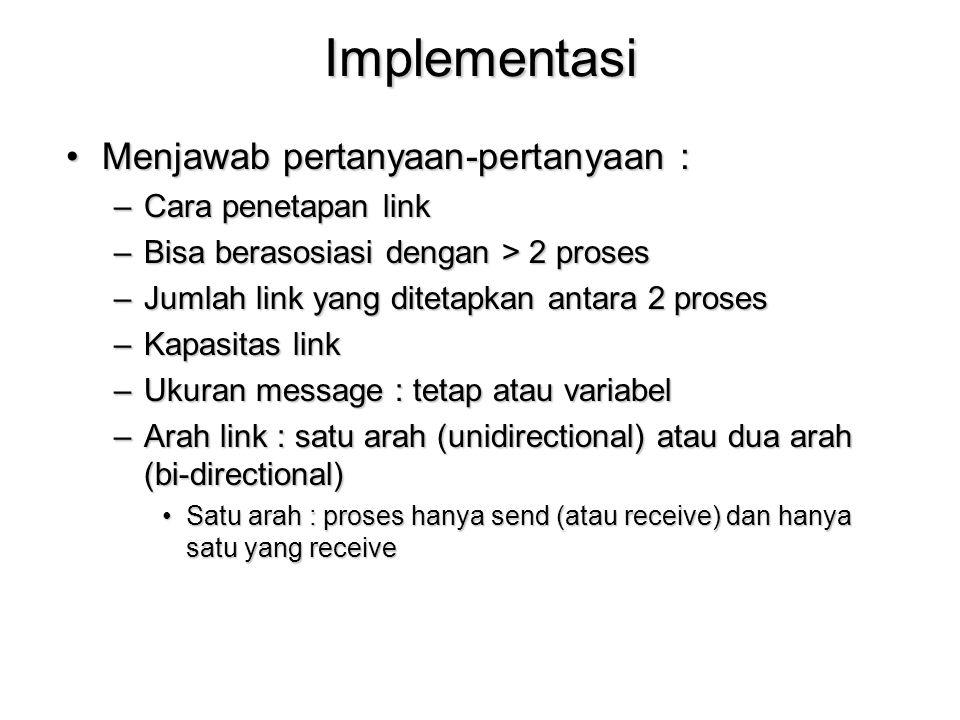 Implementasi Menjawab pertanyaan-pertanyaan : Cara penetapan link