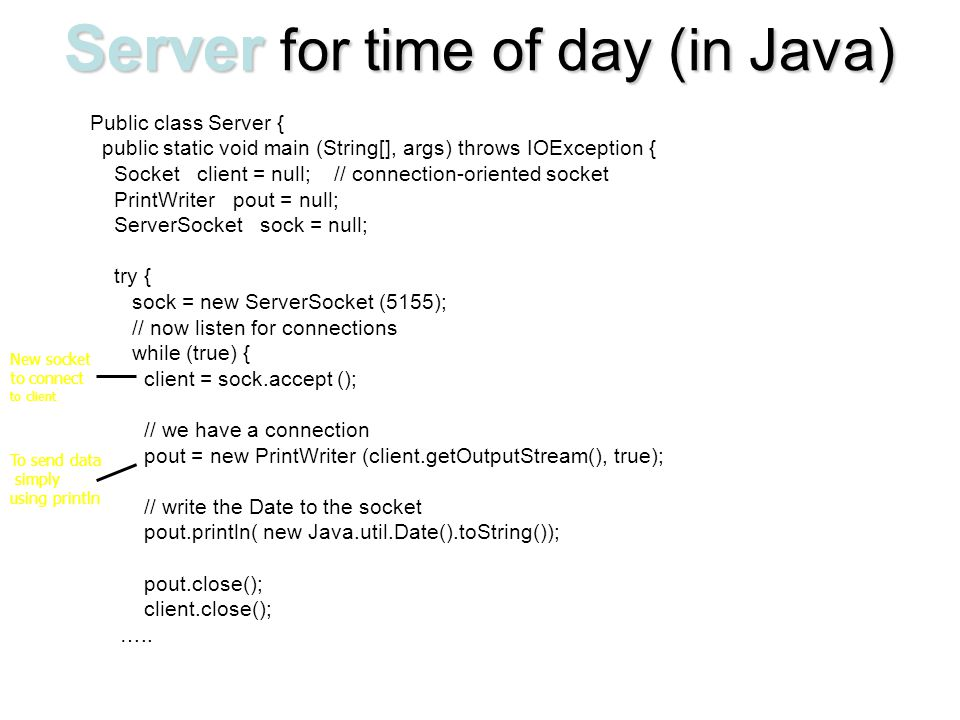 Server for time of day (in Java)