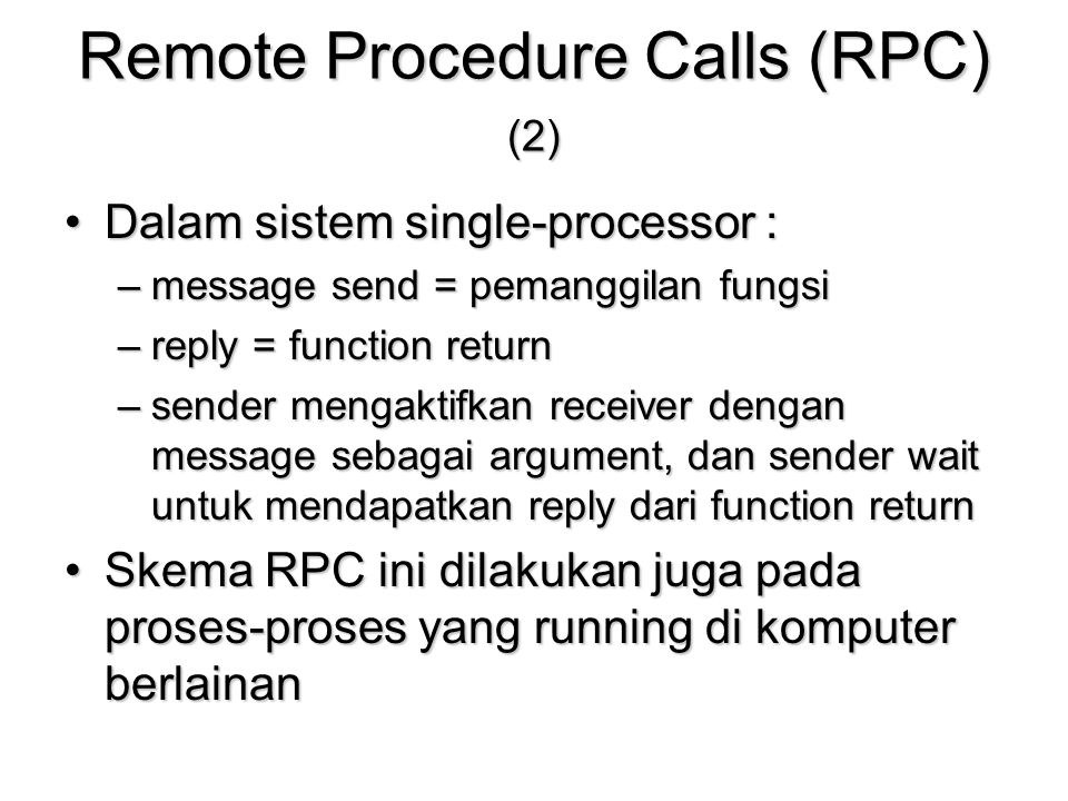 Remote Procedure Calls (RPC) (2)