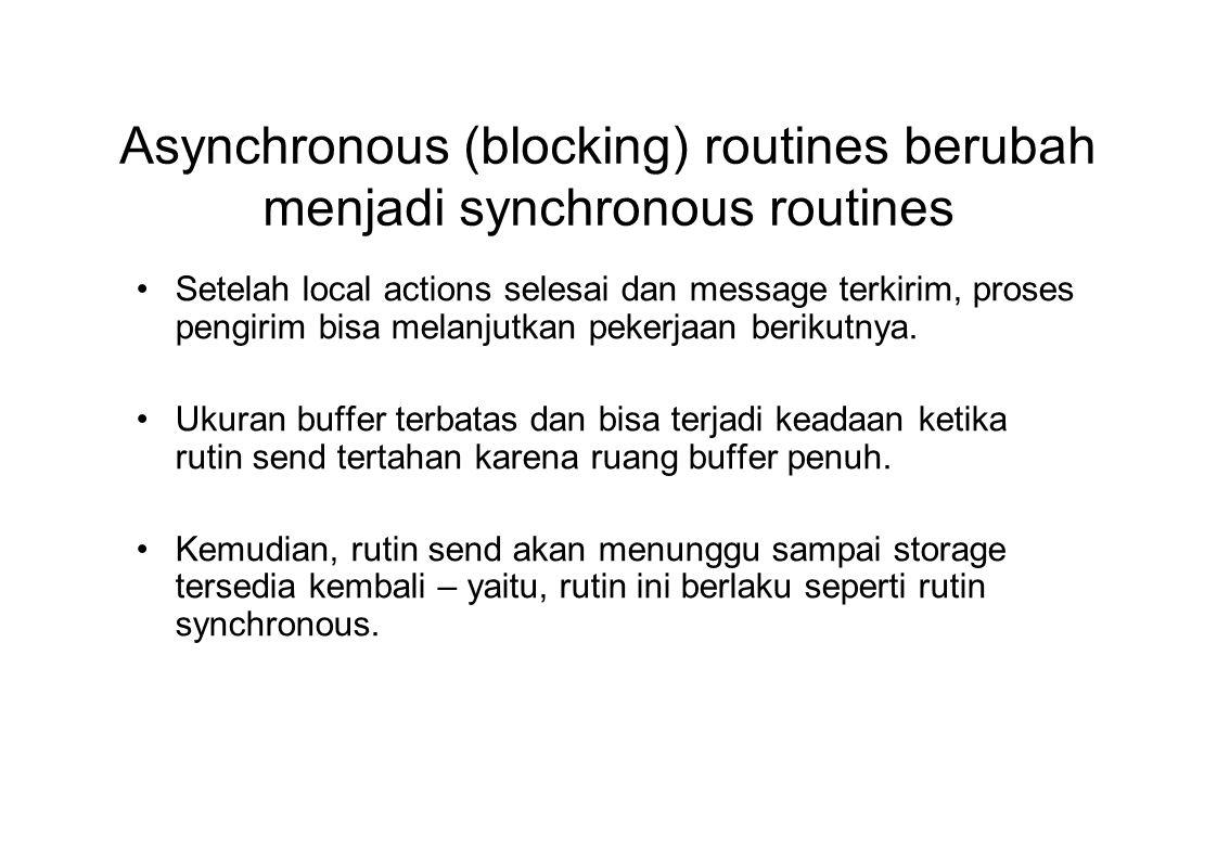 Asynchronous (blocking) routines berubah menjadi synchronous routines