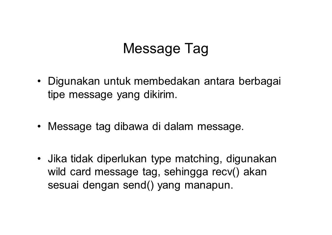 Message Tag Digunakan untuk membedakan antara berbagai tipe message yang dikirim. Message tag dibawa di dalam message.