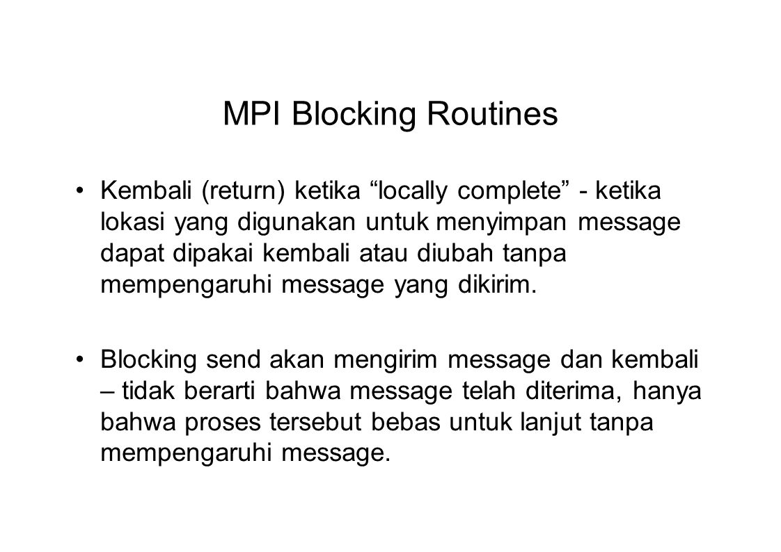 MPI Blocking Routines