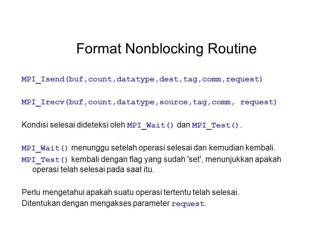 Format Nonblocking Routine