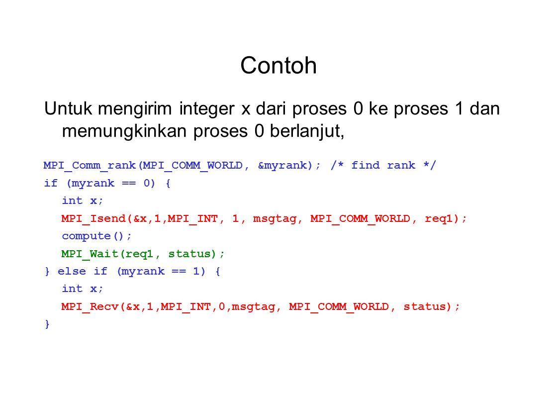 Contoh Untuk mengirim integer x dari proses 0 ke proses 1 dan memungkinkan proses 0 berlanjut,