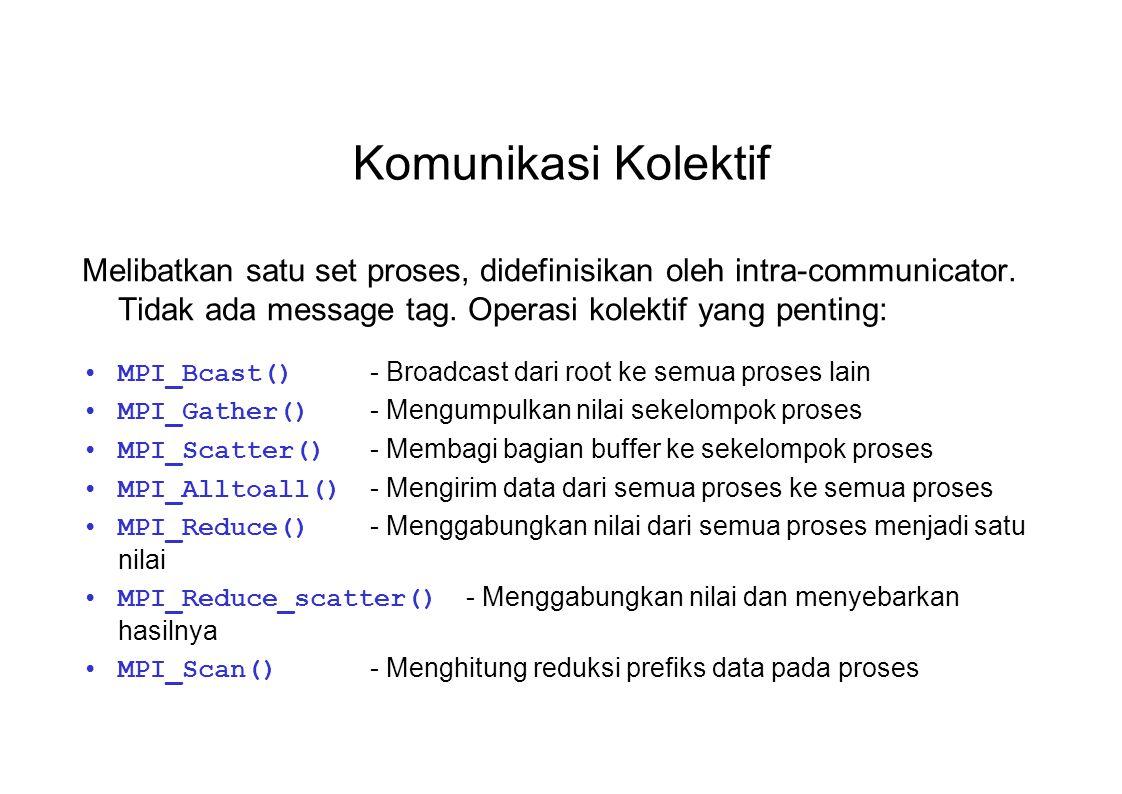 Komunikasi Kolektif Melibatkan satu set proses, didefinisikan oleh intra-communicator. Tidak ada message tag. Operasi kolektif yang penting: