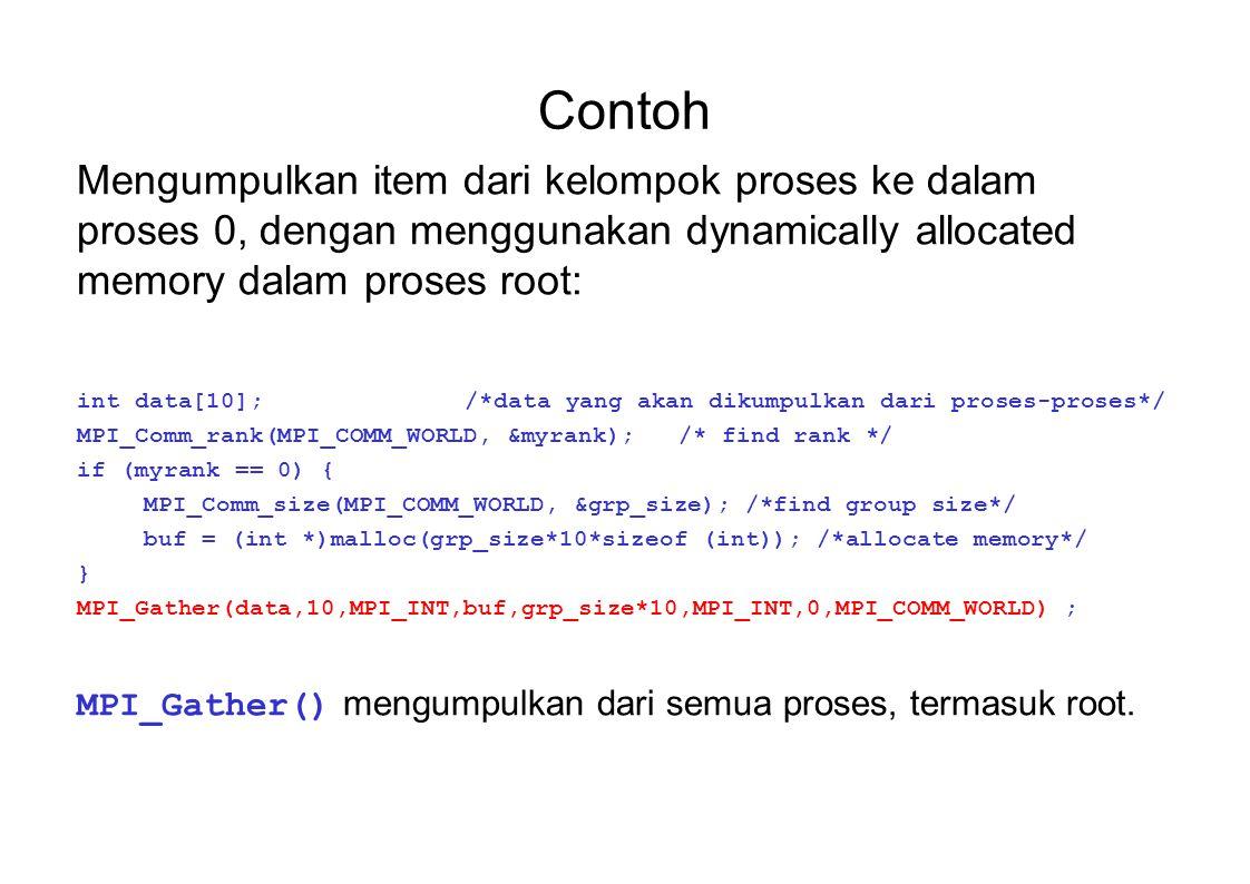 Contoh Mengumpulkan item dari kelompok proses ke dalam proses 0, dengan menggunakan dynamically allocated memory dalam proses root: