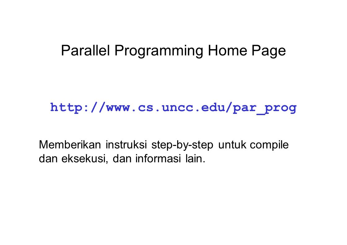 Parallel Programming Home Page