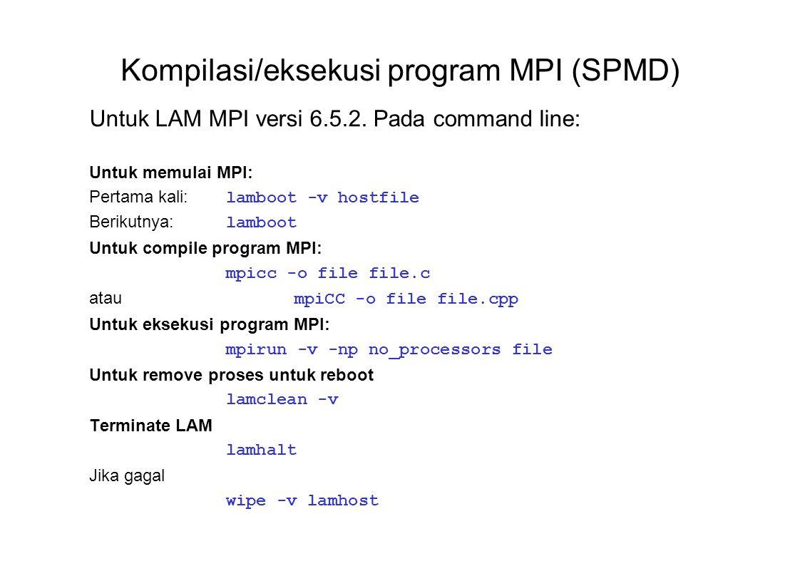Kompilasi/eksekusi program MPI (SPMD)