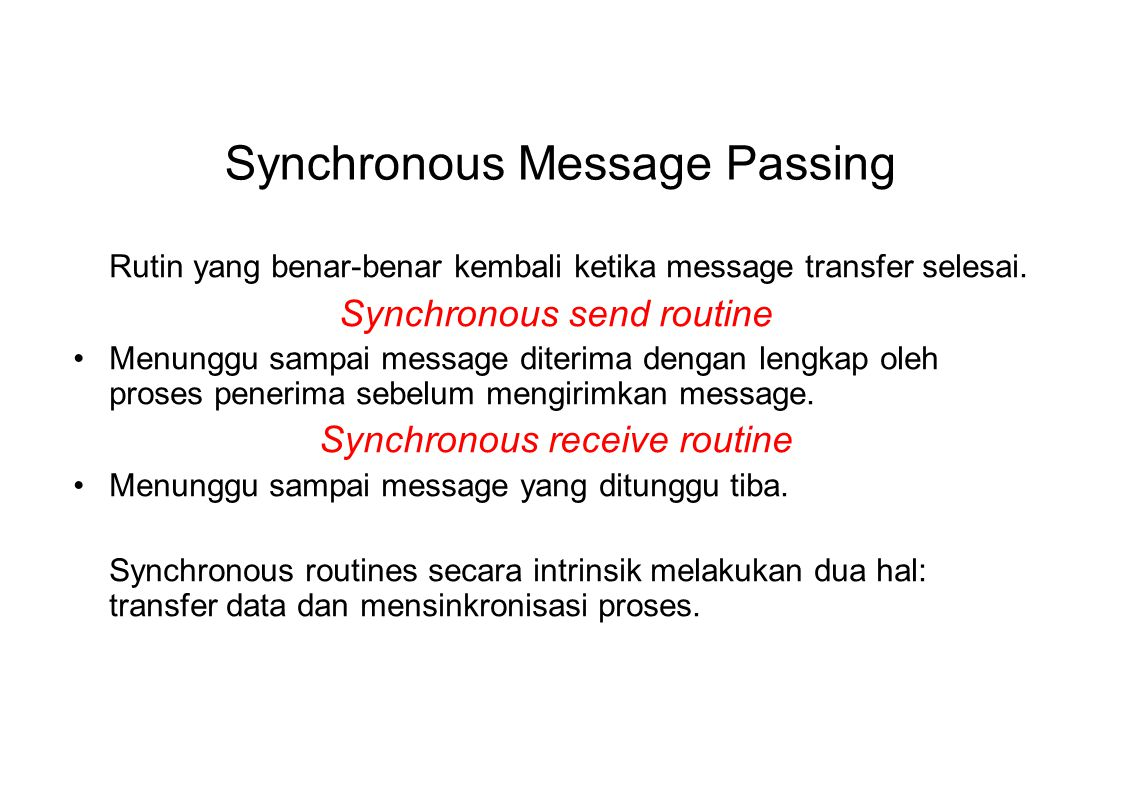 Synchronous Message Passing