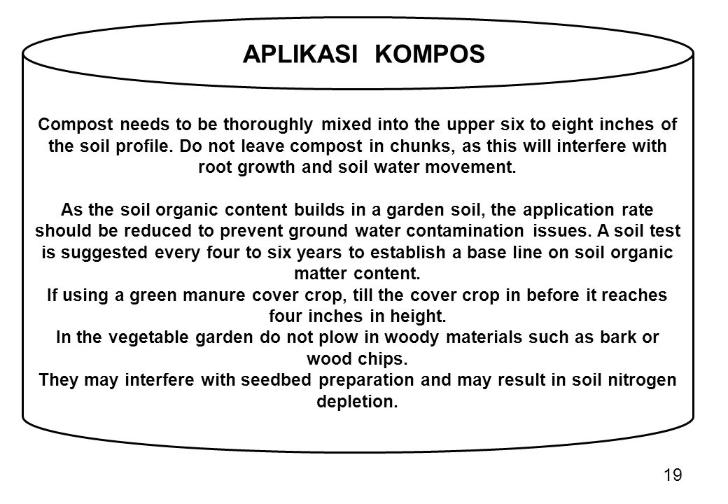 Compost needs to be thoroughly mixed into the upper six to eight inches of the soil profile. Do not leave compost in chunks, as this will interfere with root growth and soil water movement.