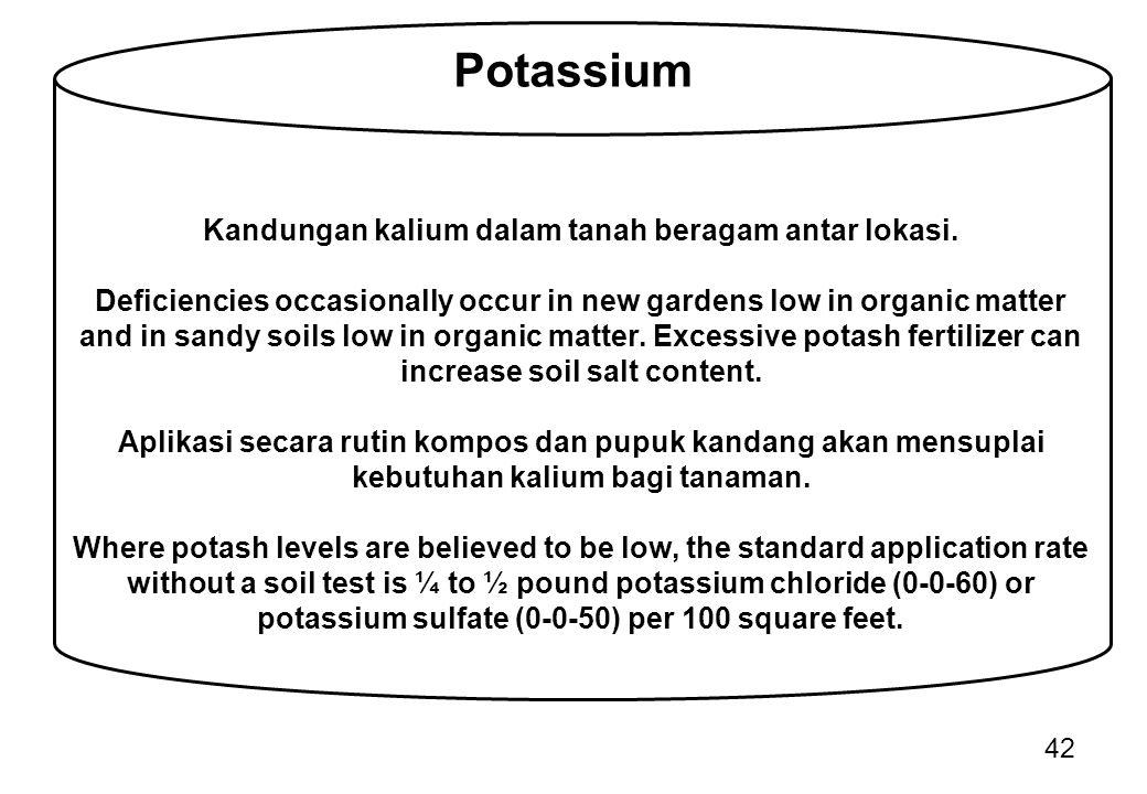 Kandungan kalium dalam tanah beragam antar lokasi.