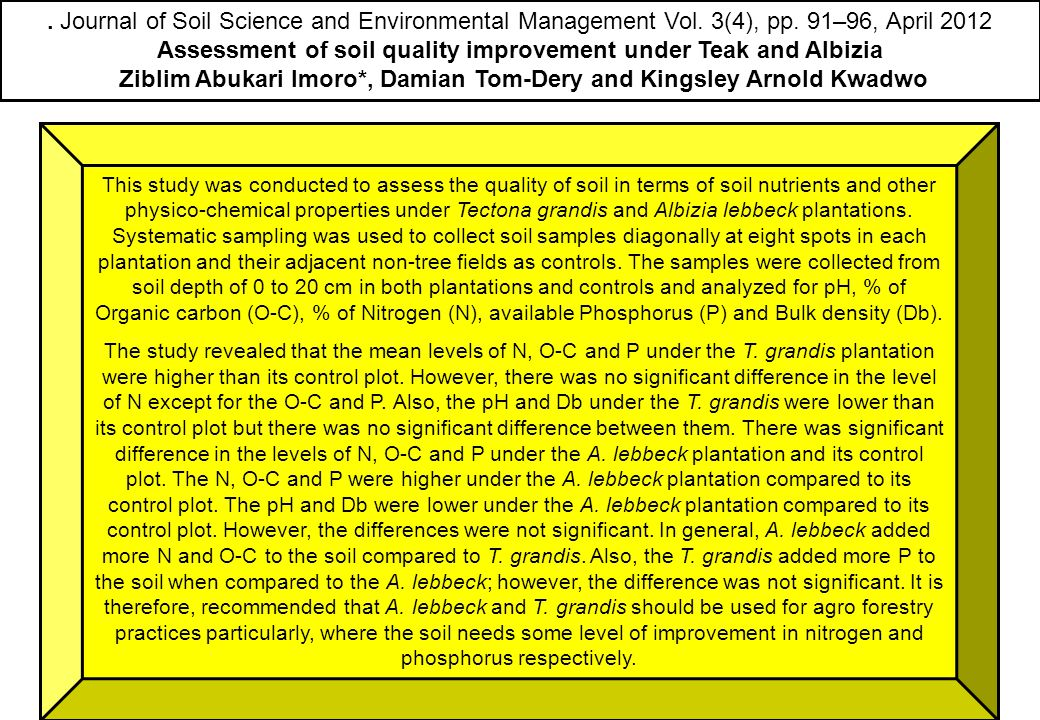 Assessment of soil quality improvement under Teak and Albizia