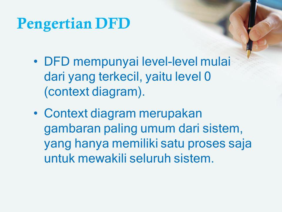 Pengertian DFD DFD mempunyai level-level mulai dari yang terkecil, yaitu level 0 (context diagram).