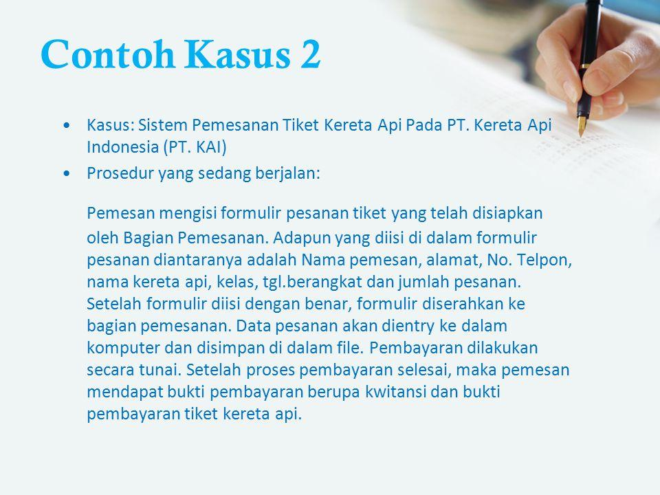Contoh Kasus 2 Kasus: Sistem Pemesanan Tiket Kereta Api Pada PT. Kereta Api Indonesia (PT. KAI) Prosedur yang sedang berjalan: