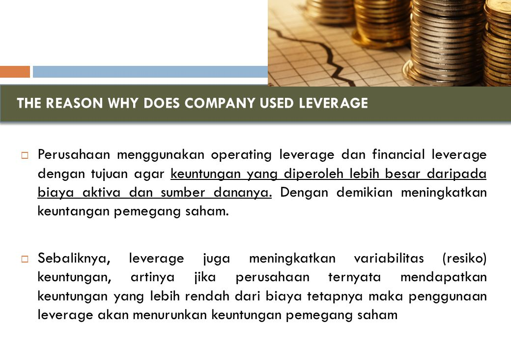 THE REASON WHY DOES COMPANY USED LEVERAGE