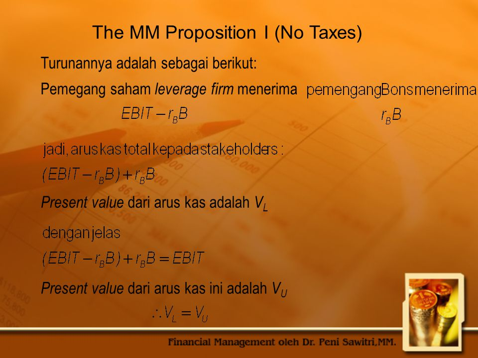 The MM Proposition I (No Taxes)