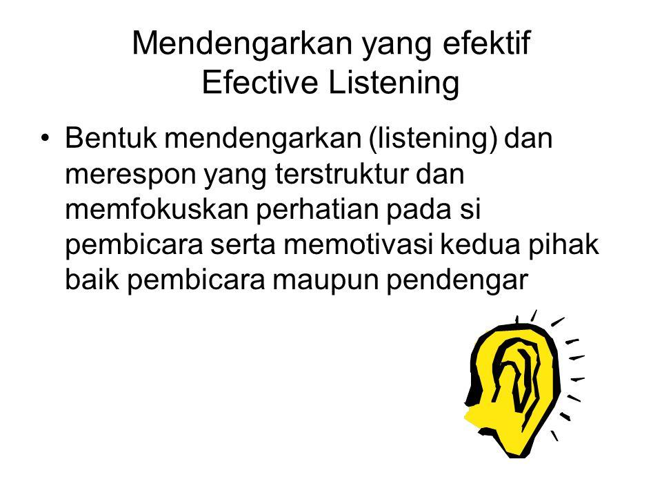 Mendengarkan yang efektif Efective Listening