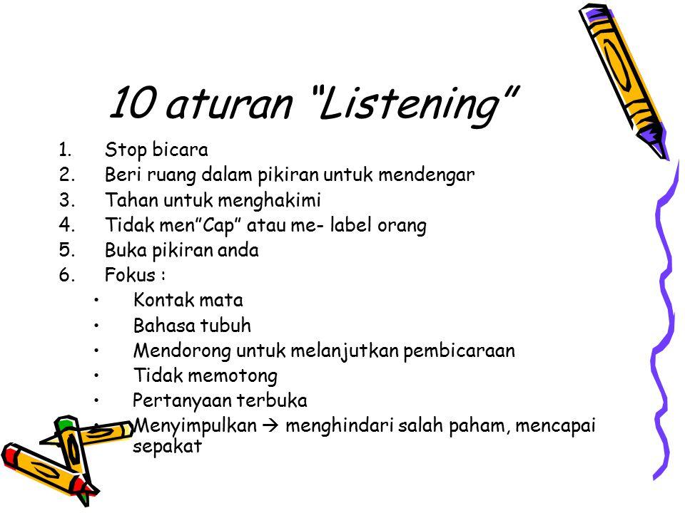 10 aturan Listening Stop bicara