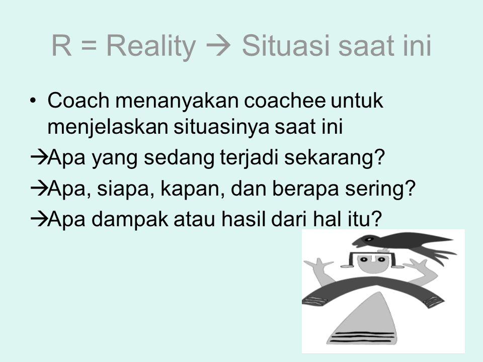 R = Reality  Situasi saat ini